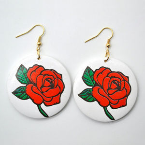 Red Rose Hand Painted Wooden Earrings